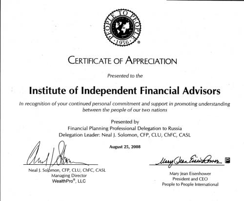 Certificat of Appreciation Financial Planning Professional